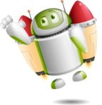 Home Assistant Robot Cartoon Vector Character AKA DAVE - Flying