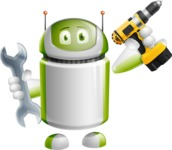 Home Assistant Robot Cartoon Vector Character AKA DAVE - Workman 1