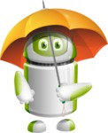 Home Assistant Robot Cartoon Vector Character AKA DAVE - Umbrella