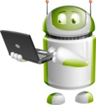 Home Assistant Robot Cartoon Vector Character AKA DAVE - Laptop 1