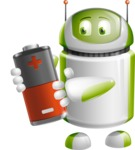 Home Assistant Robot Cartoon Vector Character AKA DAVE - Battery