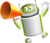 Home Assistant Robot Cartoon Vector Character AKA DAVE - Loudspeaker