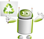 Home Assistant Robot Cartoon Vector Character AKA DAVE - Recycle