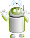 Home Assistant Robot Cartoon Vector Character AKA DAVE - Wi-Fi