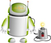 Home Assistant Robot Cartoon Vector Character AKA DAVE - Charging