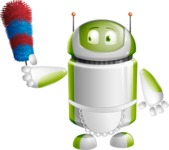 Home Assistant Robot Cartoon Vector Character AKA DAVE - Cleaner