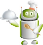 Home Assistant Robot Cartoon Vector Character AKA DAVE - Cook