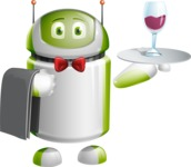 Home Assistant Robot Cartoon Vector Character AKA DAVE - Waiter