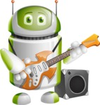 Home Assistant Robot Cartoon Vector Character AKA DAVE - Musician