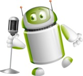 Home Assistant Robot Cartoon Vector Character AKA DAVE - Singer