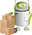 Home Assistant Robot Cartoon Vector Character AKA DAVE - Delivery 2