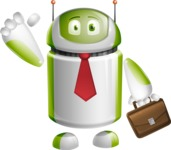 Home Assistant Robot Cartoon Vector Character AKA DAVE - Businessman