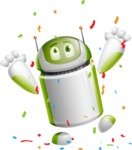 Home Assistant Robot Cartoon Vector Character AKA DAVE - Celebrate