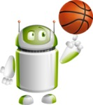 Home Assistant Robot Cartoon Vector Character AKA DAVE - Basketball