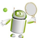 Home Assistant Robot Cartoon Vector Character AKA DAVE - Tennis 1