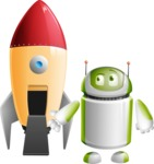 Home Assistant Robot Cartoon Vector Character AKA DAVE - Rocket