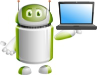Home Assistant Robot Cartoon Vector Character AKA DAVE - Laptop 2