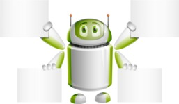 Home Assistant Robot Cartoon Vector Character AKA DAVE - Sign 8