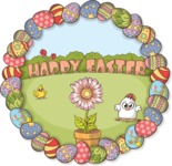 Happy Easter Round Illustration