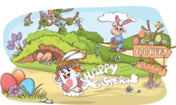Egg Hunt Cartoon Illustration