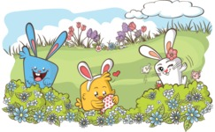 Easter Bunnies Playing Outdoors