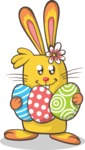 Bunny Holding Easter Eggs