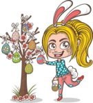 Girl and Easter Eggs Tree