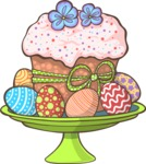 Cake and Easter Eggs