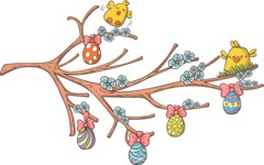 Chicks and Easter Eggs on a Branch