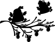 Chicks on a Branch Silhouette