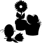 Flowerpots and Easter Eggs Silhouettes