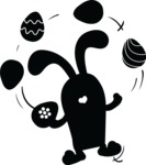 Bunny Juggling Easter Eggs Silhouette