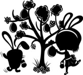 Easter Vectors - Mega Bundle - Around the Easter Tree Silhouette