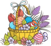 Easter Vectors - Mega Bundle - Basket of Easter Eggs