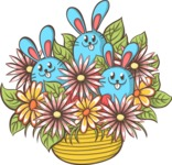 Easter Vectors - Mega Bundle - Bunnies in a Flower Vase