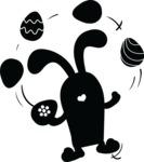 Easter Vectors - Mega Bundle - Bunny Juggling Easter Eggs Silhouette