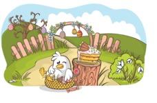 Easter Vectors - Mega Bundle - Chick Gorged on Food at Easter
