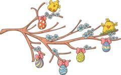 Easter Vectors - Mega Bundle - Chicks and Easter Eggs on a Branch