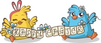 Easter Vectors - Mega Bundle - Chicks Wishing Happy Easter