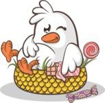 Easter Vectors - Mega Bundle - Cute Chick Gorged on Food