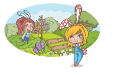 Easter Vectors - Mega Bundle - Cute Girls at Easter