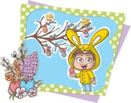 Easter Vectors - Mega Bundle - Cute Kid at Easter Illustration