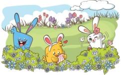 Easter Vectors - Mega Bundle - Easter Bunnies Playing Outdoors
