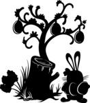 Easter Vectors - Mega Bundle - Easter Bunny Next to a Tree