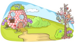 Easter Vectors - Mega Bundle - Easter Egg House in Nature