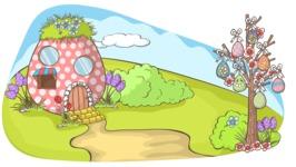 Easter Vectors - Mega Bundle - Easter Egg House in Nature