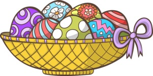 Easter Vectors - Mega Bundle - Easter Eggs in a Basket