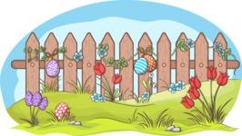 Easter Vectors - Mega Bundle - Easter Eggs on a Fence