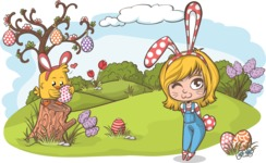 Easter Vectors - Mega Bundle - Easter Illustration Outdoors