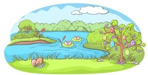 Easter Vectors - Mega Bundle - Easter Tree by a Lake